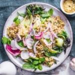 Barley Salad with Sugar Snap Peas, Baby Bok Choy & Green Romesco Dressing