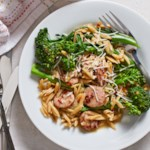 Broccolini, Chicken Sausage & Orzo Skillet