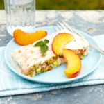 Peach Semifreddo with Pistachios and Peach Swirl