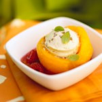 Cream Cheese-Filled Cantaloupe Bowls with Watermelon Sauce