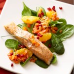 Salmon with Pomegranate-Orange Relish