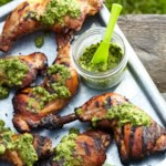 Asian-Style Brined Chicken Hindquarters with Sesame-Cilantro Pesto