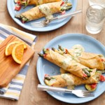 Asparagus, Zucchini, and Sweet Pepper Crepes with Orange Cream