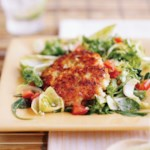 Crab Cakes with Spring Green Salad and Lime Dressing