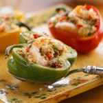 Peppers Stuffed with Mirliton, Shrimp, and Turkey Sausage