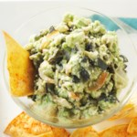 Roasted Poblano Guacamole with Spiced Tortilla Chips