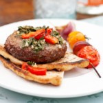 Grilled Chili Burgers with Chimichurri Topping