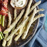 Panko & Parmesan-Crusted Asparagus with Garlic-Mayo Dipping Sauce