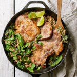 Garlic-Lime Pork with Farro & Spinach