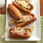 "Chicken ""Brats"" with Apple Slaw"