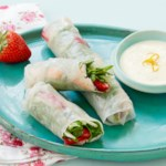 Shrimp and Strawberry Spring Rolls with Creamy Orange Dipping Sauce