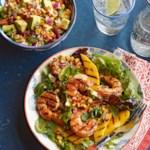 Shrimp and Mango Adobado Salad with Grilled Corn-Avocado Salsa