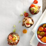 Turkey-Stuffed Mushrooms with Roasted Tomato Aioli