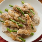 Chicken and Asparagus Rolls with Garlic Cream Sauce