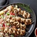 Chicken Souvlaki Kebabs with Mediterranean Couscous