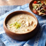 Greek Lemony-Rice Soup with Pita Salad