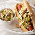 Hot Dog with Cucumber-Avocado Slaw