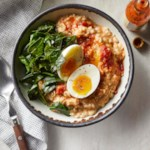 Savory Oatmeal with Cheddar, Collards & Eggs