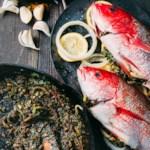Oven-Roasted Fish with Onion, Lemon, Fenugreek & Cilantro (Mahi-e Shekam Por)