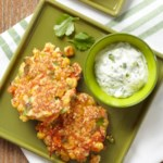 Fresh Corn Cakes with Cilantro Cream