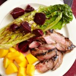 Grilled Flank Steak & Romaine Salad with Beets