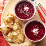 Roasted Beet Soup with Pork Dumplings