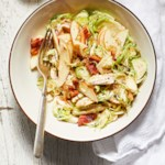 Chicken & Shredded Brussels Sprout Salad with Bacon Vinaigrette