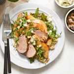 Arugula Salad with Roasted Pork Tenderloin, Pears & Blue Cheese