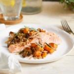 Warm Farro Salad with Salmon, Mushrooms & Sweet Potatoes