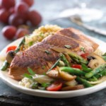 Salmon with Asparagus & Mushrooms