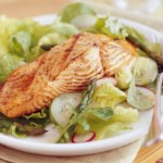 Grilled Salmon Salad with Oil-Free Vinaigrette