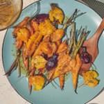 Smashed Root Vegetables with Mustard Vinaigrette