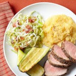 Roasted Pork Tenderloin with Pickled Cabbage & Polenta