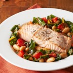 Roasted Salmon with White Bean Ragout