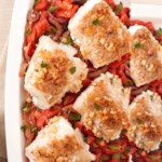 Pine Nut-Crusted Cod with Caramelized Onions & Tomatoes