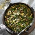 Chicken & Asparagus Skillet Pasta with Pesto