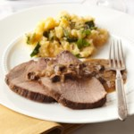 Porcini Rubbed Roast Beef with Root Vegetable Puree