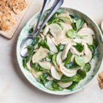 Spinach, Apple & Chicken Salad with Poppy Seed Dressing & Cheese Crisps