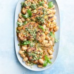 Grilled Cauliflower Steaks with Almond Pesto & Butter Beans