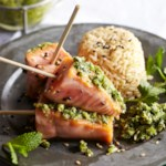 Wild-Caught Salmon Satay with Asian-Style Pesto