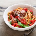 Spaghetti & Chicken Meatballs with No-Cook Tomato Sauce