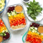 Chopped Rainbow Salad Bowls with Peanut Sauce