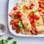 Pan-Seared Halibut with Creamed Corn & Tomatoes