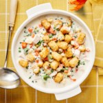 Chicken Potpie Soup with Tater Tot Topping