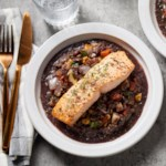 Salmon over Warm Lentil, Apple & Walnut Salad