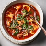 Sausage, Spinach & Tortellini Soup