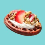 Waffle with Cream Cheese, Plums & Granola