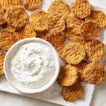 Baked Zucchini Waffle Fries with Creamy Herb Dip
