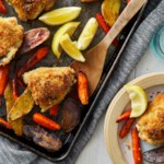Crispy Lemon-Garlic Chicken Thighs with Roasted Potatoes & Carrots