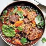 Slow-Cooker Beef-Barley Soup with Red Wine & Pesto